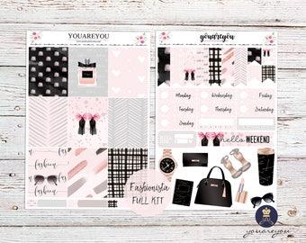 Fashionista Planner Stickers Weekly Kit, Chic Planner stickers l Erin Condren Vertical Layout