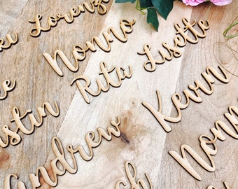90 x Custom timber place cards, Personalised wooden name places for Wedding, Laser cut timber guest names bonbonniere Plain timber name SPMG