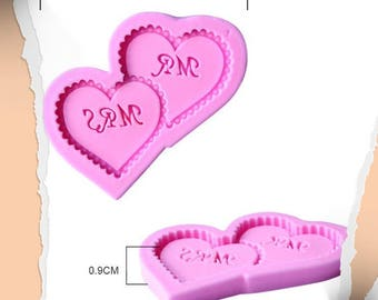silicone mold double new mr and mrs heart