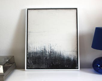 Abstract art, acrylic painting, 50 x 60 cm, black and white