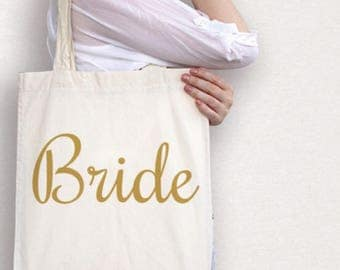 Bride tote bag , wedding day tote , bridal party tote bag , gift for new bride , wedding shower gift , cotton market bag , engagement gift