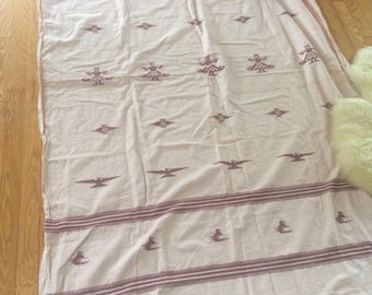 vintage cotton throw, with rough edges on both ends, with embroidery, peachy coloured, bohemian decor