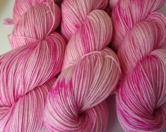 Pink Hydrangea - 100g fingering weight hand dyed yarn