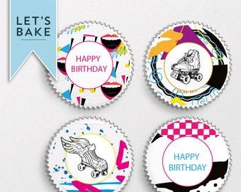 Happy Birthday,cupcake topper,cake topper,edible,Retro cake topper,80's cake,Birthday cake topper,Birthday cupcake topper,Cake, Cupcake,