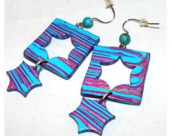 Kind of Designer [Geometrics] - purple - blue earrings