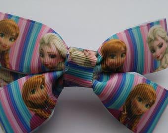 Elsa and Anna Frozen hair bow/Frozen hair bow/Disney Princess bow/Disney Frozen bow/Disney Frozen hair bow/Frozen striped hair bow/hair bow