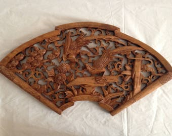 Chinese Wood Carved Panel ~ Birds and Flowers ~ Arched Wood Carved Panel