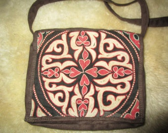 Beautiful Needlework and Brown Suede Shoulder Bag/Purse