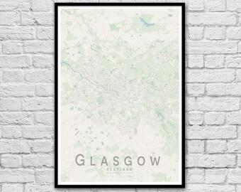 GLASGOW, Scotland City Street Map Print | Travel Wall Art Poster | Travel Nursery Print | Wall decor | A3 A2 | Valentine's Day Gift Idea