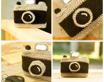 crochet vintage film camera replica/toy