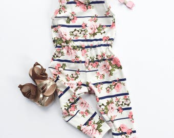 Striped Floral Romper; Baby Girl Romper; Girl's Jumpsuit; Ivory Romper; Baby Girl Outfit; Baby Gift; Handmade Romper; Matching Sisters;