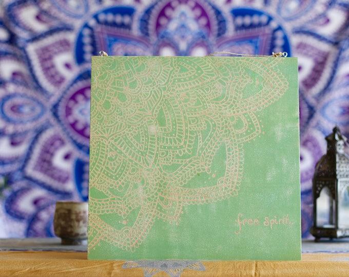 "12x12 Hand Carved Wood Mandala Wall Hanging - ""Free Spirit"""