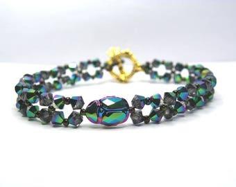 Bracelet Crystal Swarovski scarab crystal Scarabaeus green antique 18.5 cm gold metal clasp