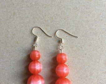 Red Sphere Bead Earrings
