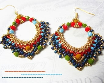 Woven, seed beads hoop earrings gold, multicolored beads