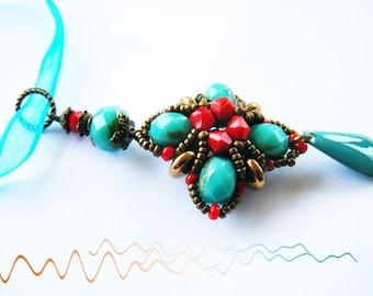 Woven pendant, Aqua and coral beads