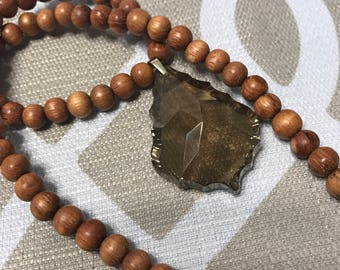 Wooden bead crystal necklace