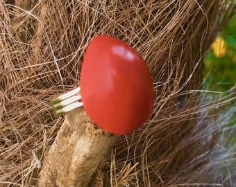 Bague en ivoire végétal orange et métal argenté