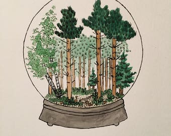 Watercolour painting ORIGINAL ART forest in snow globe terrarium A4