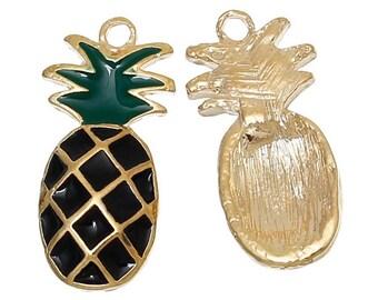 Pineapple Enamel Charm Jewelry Making Pentant Bracelet Making