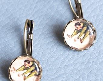 Vintage bronze earrings small Stud Earrings (Circus)