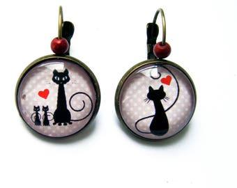 Pierced ear style earrings black cat and red heart