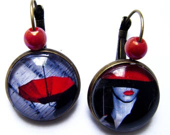 Bronze earrings with red umbrella