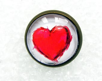 Red heart in bronzed metal pins