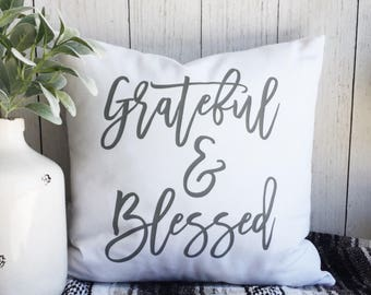 Grateful & Blessed. Pillow Cover. 20x20. White Cotton Canvas. Cushion Cover. Family. Home. Free shipping.