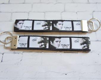 ELVIS  key Fob, wristlet keychain, Frida key FOB, white grosgrain ribbon, vintage, music keychain, Music, gift, man gift, woman gift