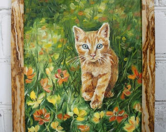 Kitten Painting Cat Painting Framed Painting Original Oil Painting Pet Art Canvas Art Framed Art Cat Art Animal Painting Original Art