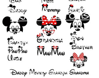 Disney Svg/ Mickey Mouse svg/ Minnie Mouse svg/ Disney Family Svg/ Disney Mickey Mouse Svg/ Cricut files svg/ mickey Minnie silhouette svg