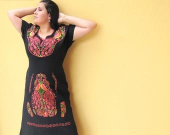 Black Mexican Dress, Mexican Maxi Dress, Mexican Embroidery, Mexican Dresses, Mexican Bridesmaid Dress, Cotton Maxi Dress, Embroidered Dress