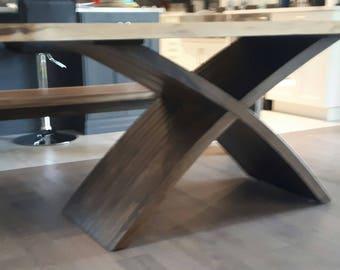 SALE: Black Walnut Live Edge Table With Curved X Pedestal Base, Live Edge  Furniture