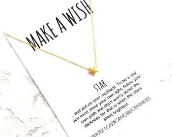 Star necklace, make a wish star necklace, star jewelry, friendship gift, dainty minimalist necklace, BFF gift, delicate simple necklace