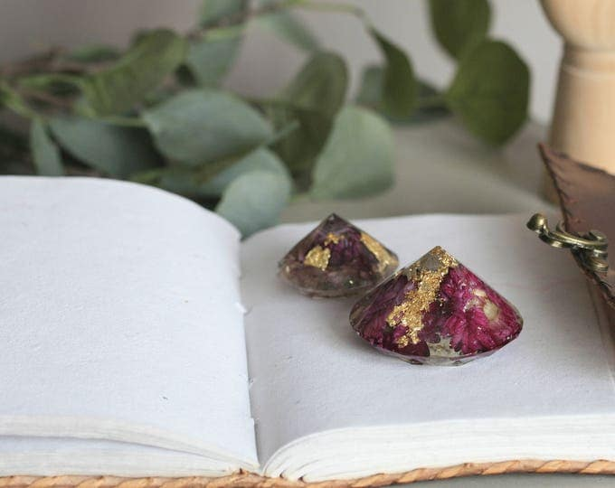SET of 2 Irish Flower Resin Paperweights | Flower Diamonds | Botanical | Display | Flowers