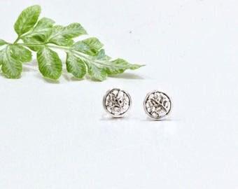 Tree Of Life Studs, Ear Studs, Real Silver, Minimalist Earrings, Bohemian, Delicate Sterling Silver Earrings Gift Jewelry, (E31)
