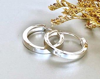 Flat 20mm silver ear hoops, Piercing silver minimal hoops, Silver earrings, Sterling silver hoops, Gift ear hoops  E215