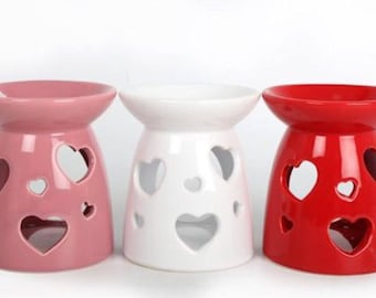 Red, White & Pink Heart  Burners