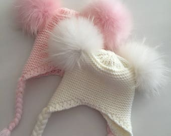Hand knitted baby hat with real fur pompom pink or white 100% cotton winter hat