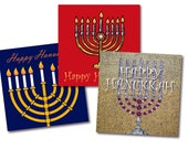 Hanukkar Cards – 3 different kinds with menorah designs – singles or 6 packs – FREE UK postage