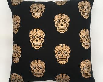 Metallic gold sugar skull throw pillow cushion cover