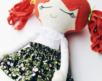 St. Patricks day, shamrock, st paddys day, Ginger doll, 4 leaf clover, handmade rag doll, toy, girl doll, red head, irish, heirloom keepsake