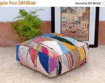 PUF Kilim marroquí, remodelado de una alfombra Berber vintage, tejida a mano en las montañas del Alto Atlas Marruecos. (PK310)