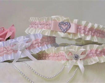 Pale Pink Bridal / Wedding garters. White or Ivory & 3 different style choices.. With 'Something blue' added