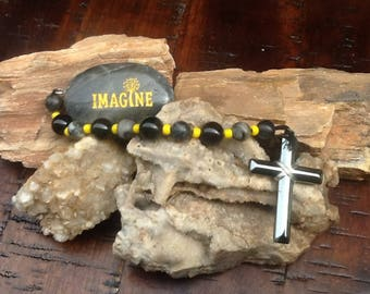HEMATITE & Obsidian Prayer, Meditation or Birthing Beads w/COURAGE  Stone
