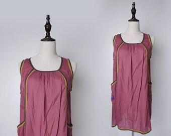 Purple Women Vintage Long Blouse Flower Embroider 1980s Sleeveless Size M