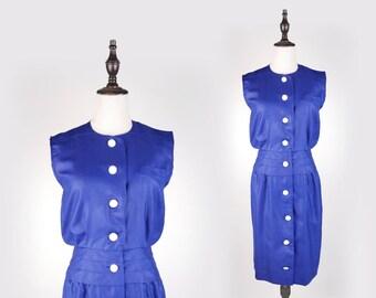 Plain Pleated Sleeveless Navy Vintage Women Dress Size M