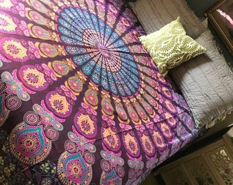 Beautiful Indian Wall Tapestry. Queen Sized Mandala Bedcover. Dorm Part 62