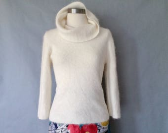 vintage angora sweater/ turtle neck sweater/ minimalist sweater women's size S/M